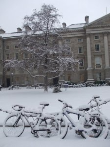 Trinity in the snow, Dublin