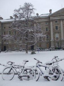 Trinity in the snow, Dublin